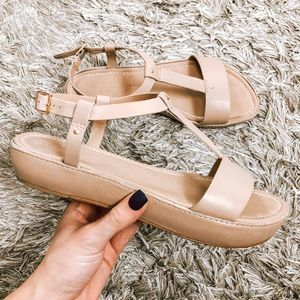 Elizabeth and James Cree Platform Nude Sandals